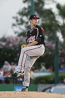 Lake Elsinore Storm pitcher Anthony Bass of the California League All- Starspitching during the California League vs. Carolina League All-Star game held at BB&T Coastal Field in Myrtle Beach, SC on June 22, 2010.  The California League All-Stars defeated the Carolina League All-Stars by the score of 4-3.  Photo By Robert Gurganus/Four Seam Images