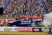 Jun. 30, 2012; Joliet, IL, USA: NHRA funny car driver Johnny Gray during qualifying for the Route 66 Nationals at Route 66 Raceway. Mandatory Credit: Mark J. Rebilas-