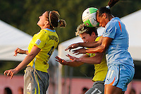 Joanna Lohman (17) of the Philadelphia Independence and Rosana (11) of Sky Blue FC go up for a header. The Philadelphia Independence defeated Sky Blue FC 4-1 during a Women's Professional Soccer (WPS) match at Yurcak Field in Piscataway, NJ, on June 19, 2010.