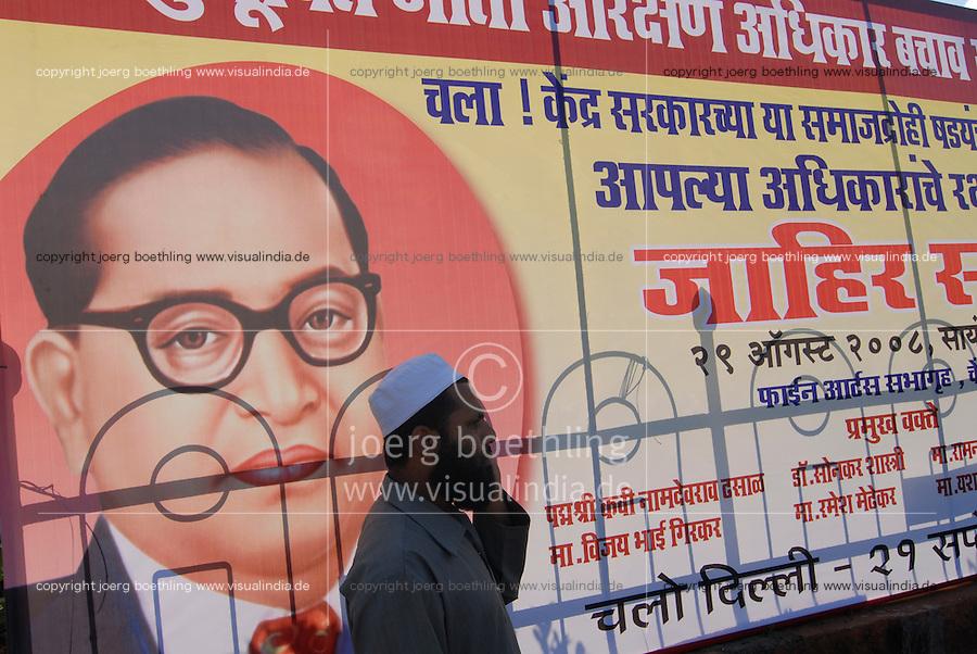 INDIA Maharashtra, Mumbai, image of Dr. Bhimrao Ramji Ambedkar, dalit leader , who converted to buddhism in 1956 / INDIEN Maharashtra, Mumbai, Bildnis von Dr. Bhimrao Ramji Ambedkar, indischer Rechtsanwalt, Politiker, Sozialreformer und Fuehrer der Dalits , am 14. Oktober 1956 trat Ambedkar in Nagpur gemeinsam mit ca. 388.000 Dalits zum Buddhismus ueber