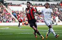 Adam Smith of Bournemouth and Wayne Routledge of Swansea City during the Barclays Premier League match between AFC Bournemouth and Swansea City played at The Vitality Stadium, Bournemouth on March 12th 2016