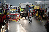 Joaquim Rodriguez (ESP/Katusha) in the lead up the superwet  Plateau de Beille (HC/15.8km/7.9%/1780m)<br /> <br /> stage 12: Lannemezan - Plateau de Beille (195km)<br /> 2015 Tour de France