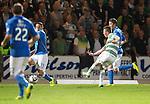 St Johnstone v Celtic...13.08.14  SPFL<br /> Callum McGregor scores Celtic's third goal<br /> Picture by Graeme Hart.<br /> Copyright Perthshire Picture Agency<br /> Tel: 01738 623350  Mobile: 07990 594431