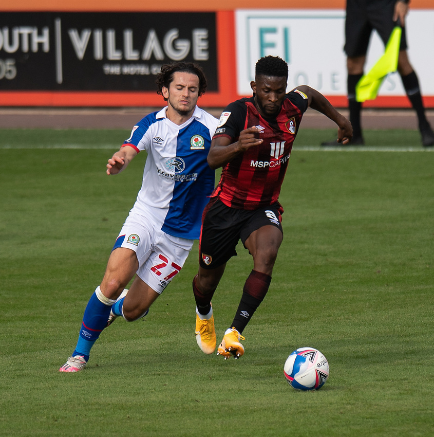 Bournemouth's Jefferson Lerma (right) under pressure from Blackburn Rovers' Lewis Travis (left) <br /> <br /> Photographer David Horton/CameraSport <br /> <br /> The EFL Sky Bet Championship - Bournemouth v Blackburn Rovers - Saturday September 12th 2020 - Vitality Stadium - Bournemouth<br /> <br /> World Copyright © 2020 CameraSport. All rights reserved. 43 Linden Ave. Countesthorpe. Leicester. England. LE8 5PG - Tel: +44 (0) 116 277 4147 - admin@camerasport.com - www.camerasport.com