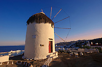 The Folklore Museum  Bonis windmill. Mykonos Upper Chora. Cyclades Islands, Greece