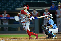 Josh McLain (15) of the North Carolina State Wolfpack follows through on his swing against the North Carolina Tar Heels in Game Twelve of the 2017 ACC Baseball Championship at Louisville Slugger Field on May 26, 2017 in Louisville, Kentucky. The Tar Heels defeated the Wolfpack 12-4. (Brian Westerholt/Four Seam Images)
