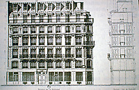 Haussmann drawing of elevation of an apartment building on Avenue Victor Hugo.