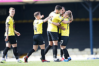 Team mates celebrate with Lloyd Kerry, Harrogate Town, following the visitors second goal during Southend United vs Harrogate Town, Sky Bet EFL League 2 Football at Roots Hall on 12th September 2020