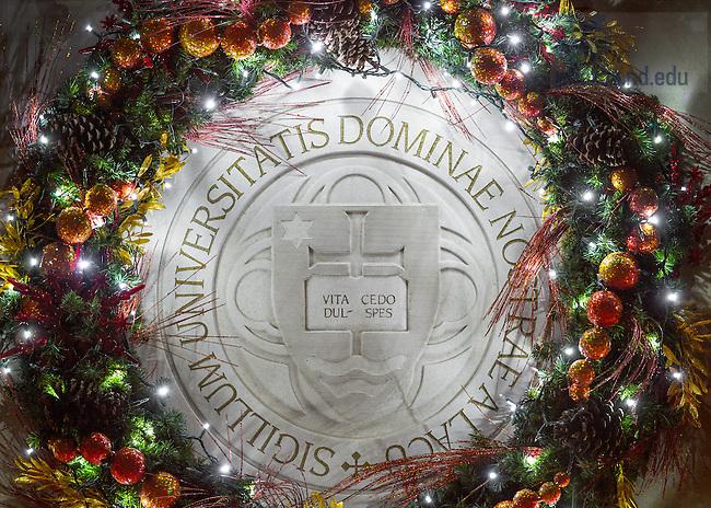 Dec. 12, 2014; Christmas Wreath on DPAC (Photo by Matt Cashore/University of Notre Dame)