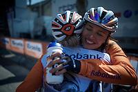 post-race happiness for a teammate winning<br /> <br /> Flèche Wallonne Féminine 2015