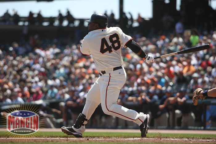 SAN FRANCISCO - APRIL 22:  Pablo Sandoval #48 of the San Francisco Giants bats against the San Diego Padres during the game at AT&T Park on April 22, 2009 in San Francisco, California. Photo by Brad Mangin