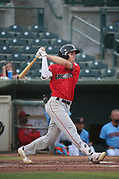 Zac Veen (13) of the Fresno Grizzlies bats against the Inland Empire 66ers at San Manuel Stadium on May 25, 2021 in San Bernardino, California. (Larry Goren/Four Seam Images)