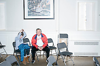 """Calling themselves """"undecided independents,"""" John Egan (right) and daughter Hali Carter-Egan, 12, of Winchendon, Mass., sit in the audience area after Texas senator and Republican presidential candidate Ted Cruz spoke during a town hall event at Peterborough Town House in Peterborough, New Hampshire, on Sun., Feb. 7, 2016."""