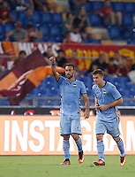 Calcio, Serie A: Roma vs Sampdoria. Roma, stadio Olimpico, 11 settembre 2016.<br /> Sampdoria's Fabio Quagliarella, left, celebrates with teammate Karol Linetty after scoring during the Italian Serie A football match between Roma and Sampdoria at Rome's Olympic stadium, 11 September 2016. Roma won 3-2.<br /> UPDATE IMAGES PRESS/Isabella Bonotto