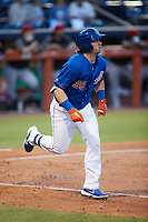 Brendan McKay (38) of the Durham Bulls starts down the first base line against the Jacksonville Jumbo Shrimp at Durham Bulls Athletic Park on May 15, 2021 in Durham, North Carolina. (Brian Westerholt/Four Seam Images)