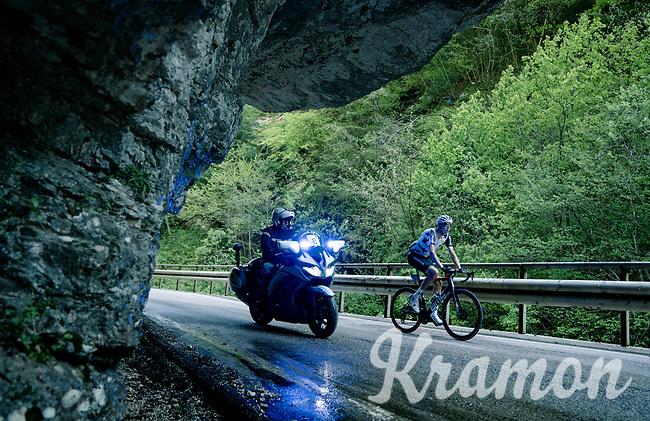 Kilian Frankiny (SUI/Qhubeka ASSOS) up the Passo di San Valentino (cat.1)<br /> <br /> 104th Giro d'Italia 2021 (2.UWT)<br /> Stage 17 from Canazei to Sega di Ala (193km)<br /> <br /> ©kramon