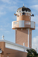 South Africa, Cape Town, Bo-kaap.  Minaret of the Nurul Huda Mosque, constructed 1958.