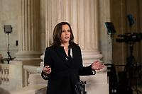 United States Senator Kamala Harris (Democrat of California) speaks during a television interview at the United States Capitol in Washington D.C., U.S., on Wednesday, June 24, 2020.  Credit: Stefani Reynolds / CNP/AdMedia