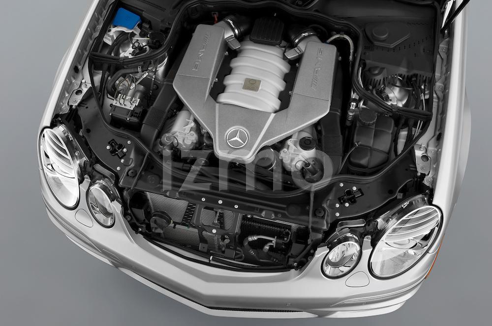 High overhead engine detail view from a 2008 Mercedes E63 Sedan