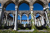 Beautiful Versailles Garden and French cloister under a blue sky, a real 12th-century French monastery moved over to Paradise Island, Nassau, Bahamas