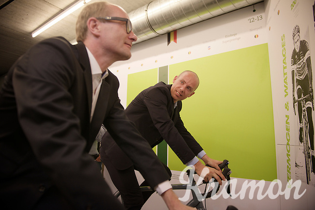 Sven Nys & Minister of Sports Philippe Muyters (N-VA) testing/experiensing the attractions at the opening of the Sven Nys Cycling Center in Nys' hometown of Baal (Belgium)