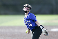 Rogers pitcher Madison Heinle (16) throws a pitch, Thursday, April 29, 2021 during a softball game at Bentonville High School in Bentonville. Check out nwaonline.com/210430Daily/ for today's photo gallery. <br /> (NWA Democrat-Gazette/Charlie Kaijo)
