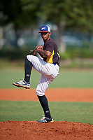 Wilbert Vasquez (12) during the Dominican Prospect League Elite Florida Event at Pompano Beach Baseball Park on October 15, 2019 in Pompano beach, Florida.  (Mike Janes/Four Seam Images)
