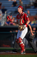 Auburn Doubledays catcher Erik VanMeetren (13) during a game against the State College Spikes on July 6, 2015 at Falcon Park in Auburn, New York.  State College defeated Auburn 9-7.  (Mike Janes/Four Seam Images)