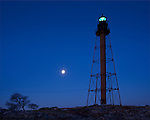 Marblehead Light at moonset, Marblehead, MA, USA