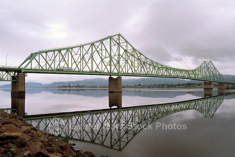 J.C. Van Horne Bridge over Restigouche River, connecting Campbellton, NB, New Brunswick, and Pointe-a-la-Croix, Quebec, Canada