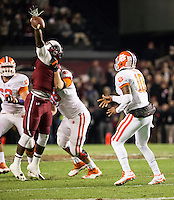 The tenth ranked South Carolina Gamecocks host the 6th ranked Clemson Tigers at Williams-Brice Stadium in Columbia, South Carolina.  USC won 31-17 for their fifth straight win over Clemson.  South Carolina Gamecocks defensive end Jadeveon Clowney (7) attempts to block a pass from Clemson Tigers quarterback Tajh Boyd (10)