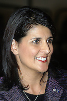 South Carolina governor Nikki Haley speaking to a group of Mitt Romney supporters on the campus of Horry-Georgetown Technical College in Myrtle Beach, South Carolina on December 17, 2011.  Governor Haley endorsed Mr. Romney as the Republican nominee for the presidency the day before. Robert Gurganus/Four Seam Images
