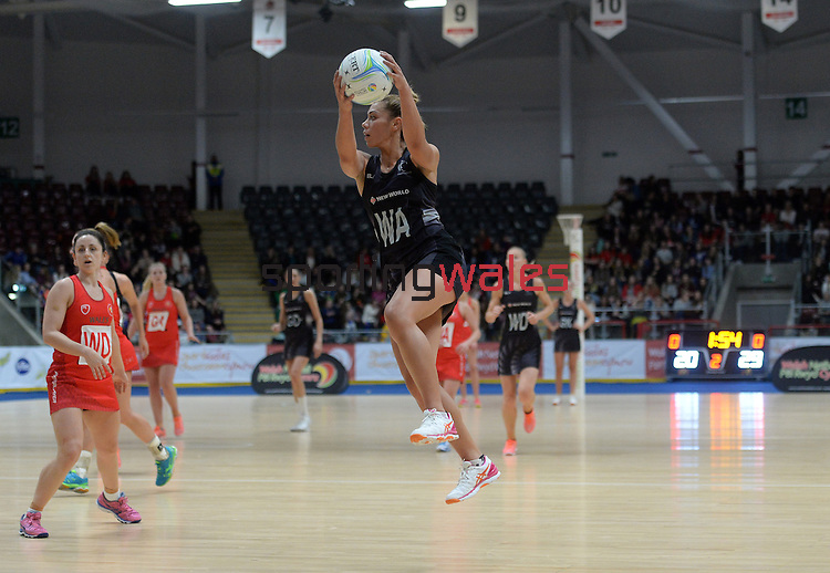 New Zealand's Grace Rasmussen in action during todays match   <br /> <br /> Swansea University International Netball Test Series: Wales v New Zealand<br /> Ice Arena Wales<br /> 08.02.17<br /> ©Ian Cook - Sportingwales