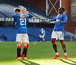 04.10.2020 Rangers v Ross County: Steven Davis and Calvin Bassey congratulare second goalscorer Brandon Barker
