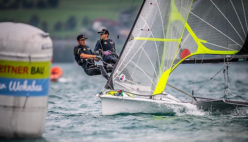 Seafra Guilfoyle (left) and Ryan Seaton finished 26th at the Lake Attersee 49er Europeans. Photo: Tobias Stoerkle
