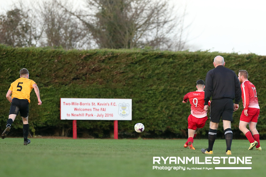 Keane Hayes of Two Mile Borris scores his sides 3rd goal during the Tipperary Cup 1st Round game between Two Mile Borris and Clonmel Town  on Sunday 9th December 2018 at Newhill, Two Mile Borris Co Tipperary. Mandatory Credit: Michael P Ryan.