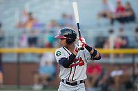 Derian Cruz (7) of the Danville Braves at bat against the Burlington Royals at Burlington Athletic Stadium on August 14, 2017 in Burlington, North Carolina.  The Royals defeated the Braves 9-8 in 10 innings.  (Brian Westerholt/Four Seam Images)