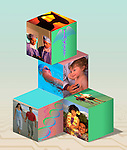 photo illustration integrating symbols of good health, healthy living, healthy lifestyles, genetics, medicine, exercise