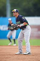 Vermont Lake Monsters first baseman Chris Iriart (18) during the first game of a doubleheader against the Batavia Muckdogs August 11, 2015 at Dwyer Stadium in Batavia, New York.  Batavia defeated Vermont 6-0.  (Mike Janes/Four Seam Images)
