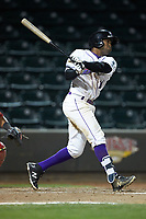 Luis Alexander Basabe (16) of the Winston-Salem Dash follows through on his swing against the Salem Red Sox at BB&T Ballpark on April 20, 2018 in Winston-Salem, North Carolina.  The Red Sox defeated the Dash 10-3.  (Brian Westerholt/Four Seam Images)