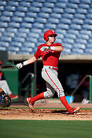Philadelphia Phillies Mitchell Edwards (19) follows through on a swing during a Florida Instructional League game against the New York Yankees on October 12, 2018 at Spectrum Field in Clearwater, Florida.  (Mike Janes/Four Seam Images)