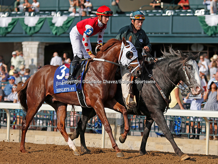 """October 07, 2018 : #3 Henley's Joy and jockey Tyler Gaffalione before running in the 28th running of The Dixiana Bourbon (Grade 3) $250,000 """"Win and You're In Breeders' Cup Juvenile Turf Division"""" at Keeneland Race Course on October 07, 2018 in Lexington, KY.  Candice Chavez/ESW/CSM"""