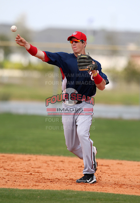 March 22, 2010:  Shortstop Steve Souza (2) of the Washington Nationals organization during Spring Training at the Carl Barger Training Complex in Melbourne, FL.  Photo By Mike Janes/Four Seam Images