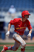 Palm Beach Cardinals third baseman Danny Diekroeger (4) runs to first base during a game against the Charlotte Stone Crabs on April 12, 2017 at Charlotte Sports Park in Port Charlotte, Florida.  Palm Beach defeated Charlotte 8-7 in ten innings.  (Mike Janes/Four Seam Images)