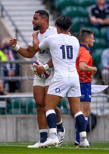 4th July 2021; Twickenham, London, England; International Rugby, Autumn Internationals, England versus United States of America; Joe Cokanasiga of England celebrates scoring a try with Marcus Smith