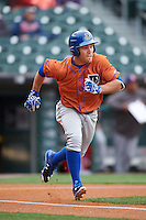 Durham Bulls center fielder Johnny Field (1) runs to first base during a game against the Buffalo Bisons on June 13, 2016 at Coca-Cola Field in Buffalo, New York.  Durham defeated Buffalo 5-0.  (Mike Janes/Four Seam Images)