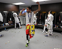 Pictured: Chico Flores celebrating in the dressing room. Sunday 24 February 2013<br /> Re: Capital One Cup football final, Swansea v Bradford at the Wembley Stadium in London.