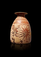 Minoan clay vase with marine design, Speial Palatial Tradition , Knossos Palace 1500-1450 BC BC, Heraklion Archaeological  Museum, black background.