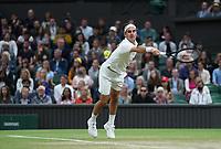5th July 2021, Wimbledon, SW London, England; 2021 Wimbledon Championships, day 7; Roger Federer , Switzerland *** 2021 Wimbledon Championships Roger Federer , Switzerland