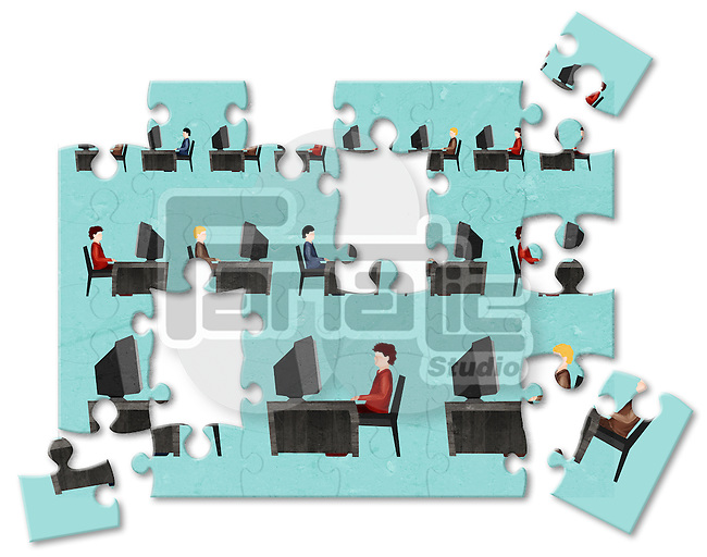 Jigsaw puzzle of businessmen working on computers in an office